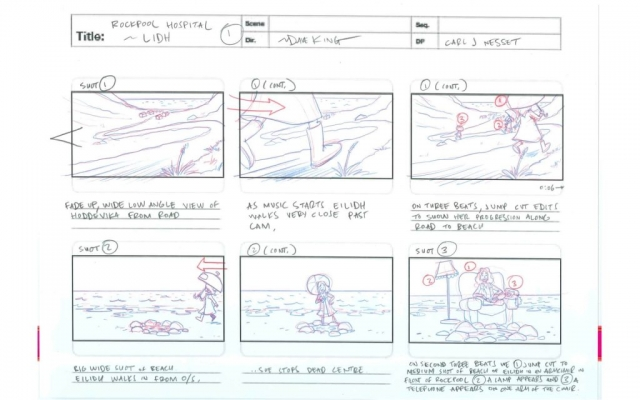 Døme på eit storyboard til ein musikkvideo Dave King har laga.