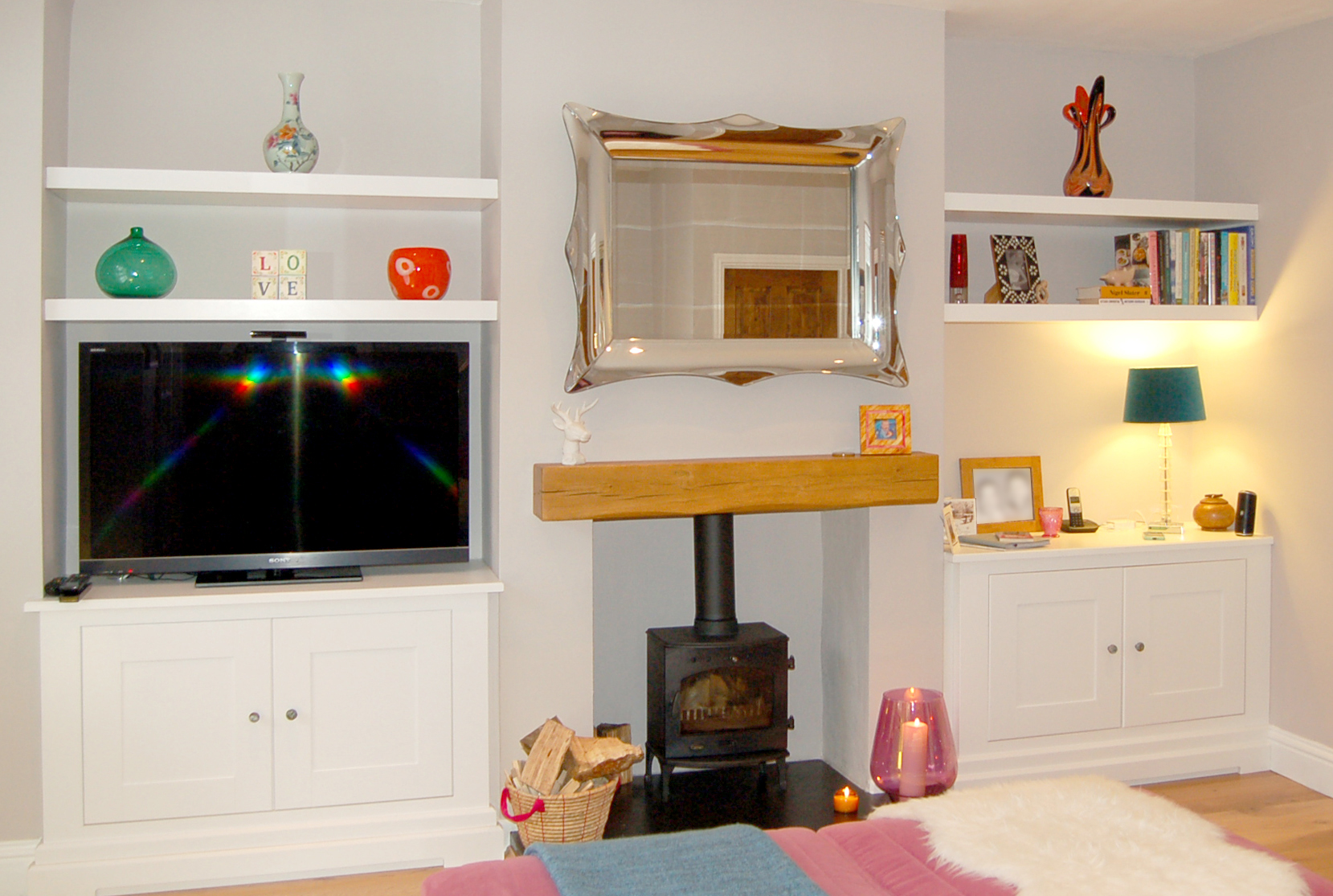 Base Cabinets And Floating Shelves