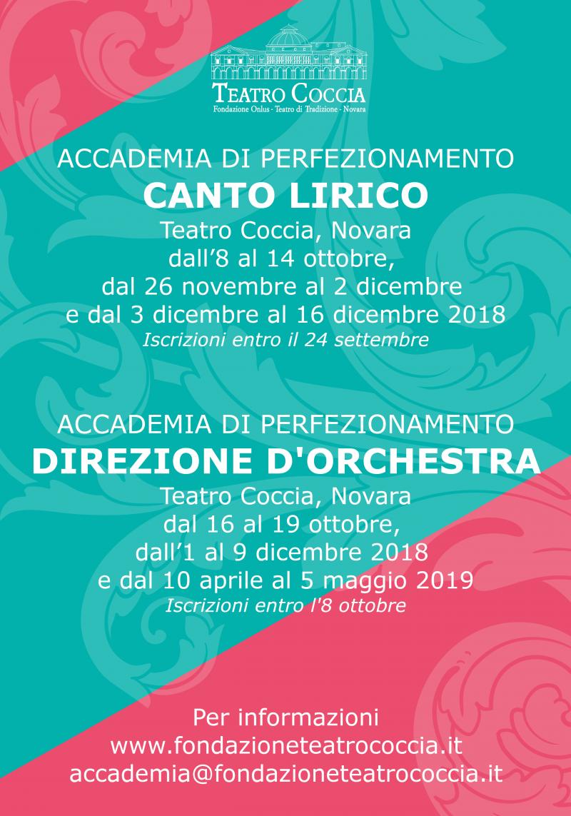 Accademia Teatro Coccia: perfezionamento canto lirico e direzione d'orchestra