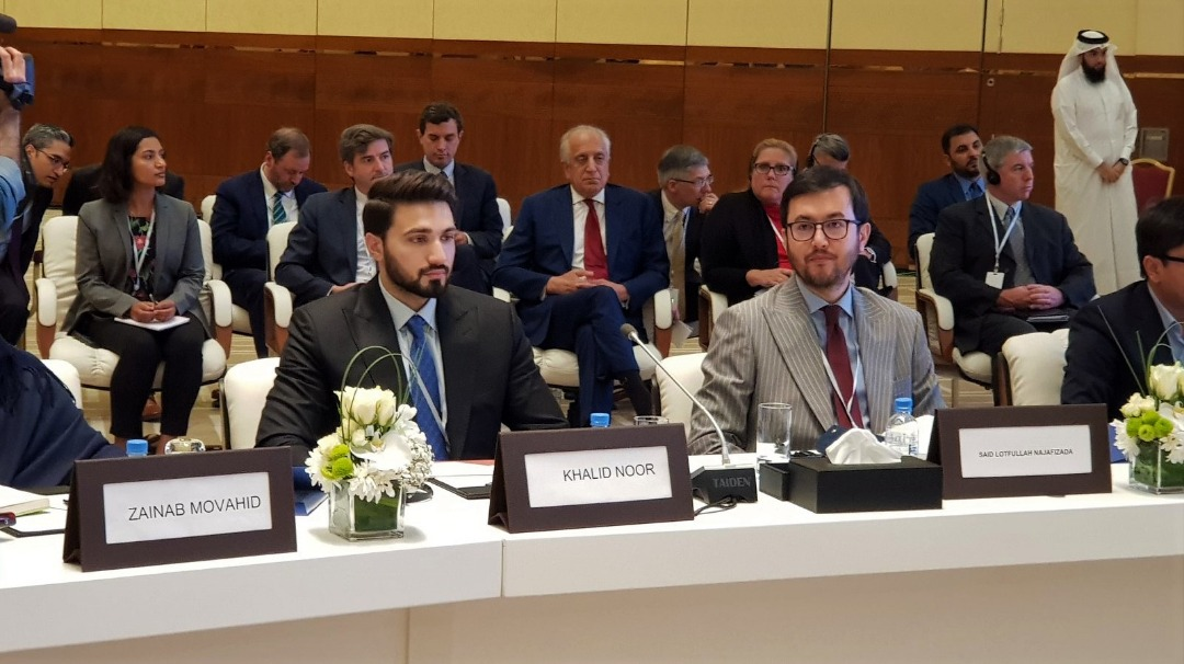 From Left, Khalid Noor and Lotfullah Najafzada at Doha peace conference. July 8, 2019.