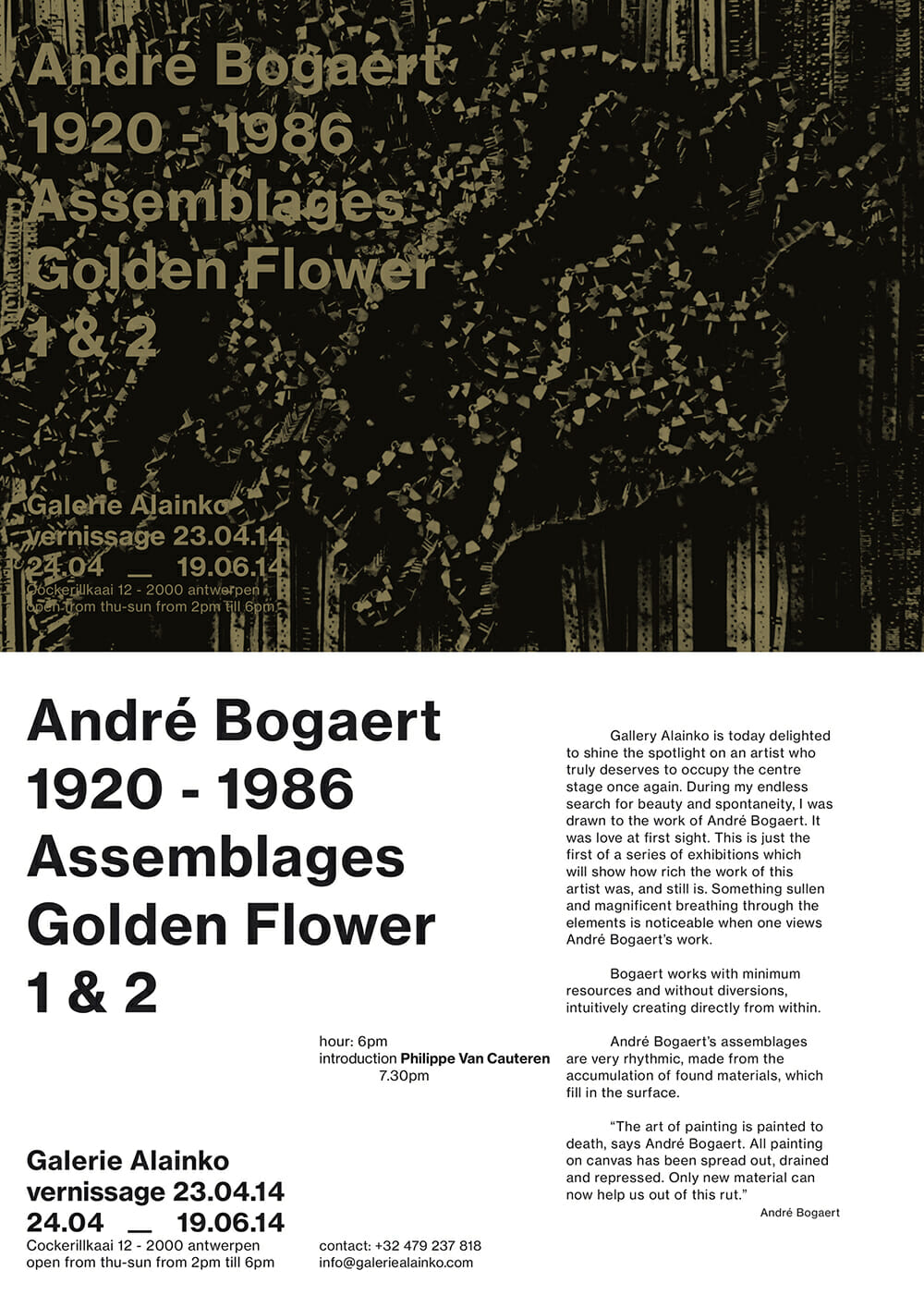 Belgian artist André Bogaert 1920 - 1986 Assemblages Golden Flower 1 & 2