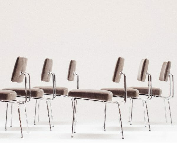 1952, Steel and fabric, Raymond Goovaerts & Elli Kruithof unique dining chairs. Set of 6 chairs designed for their private property in Antwerpen.