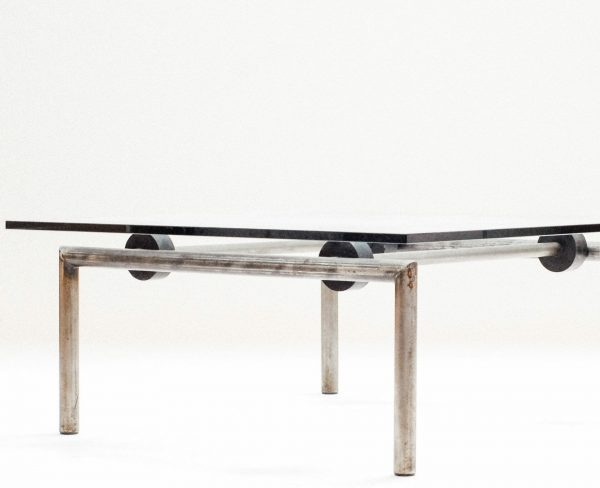 Untitled, Steel, glass & rubber. Pol Quadens unique prototype coffee table. (Gerard Kuypers) Collectible Belgian Design. From private collection Brussels.