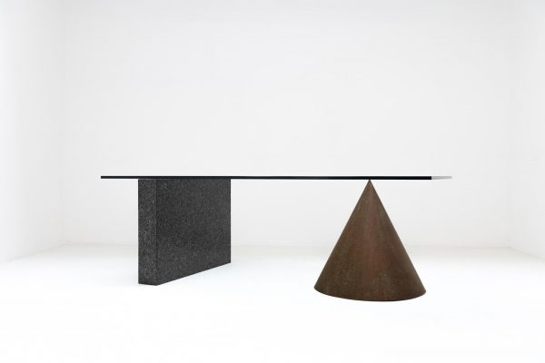 1985 Kono, Crystal glass, copper and granite, Lella & Massimo Vignelli for Casigliani. Postmodern, sculptural desk table based upon Ancient Greek mathematical principles. A most ambitious and ambiguous project by one of the most iconic designer duo's in post war 20th century design.