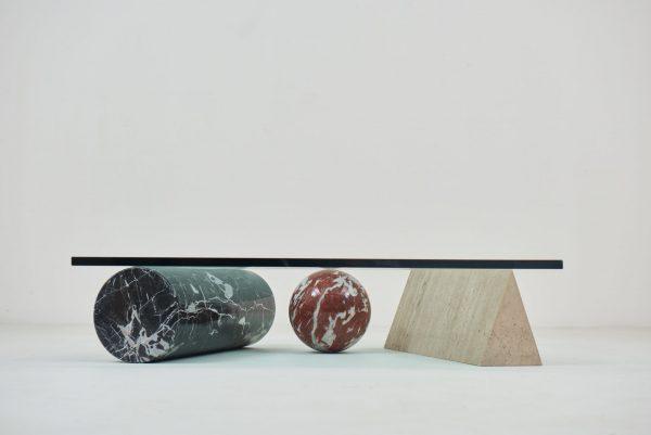 "1985 Coffee table "" Metaphora 3 "" by Massimo & Lella Vignelli for Casigliani"