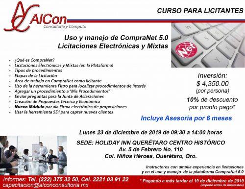 Curso de CompraNet 5.0, Querétaro, AlCon Consultoría y Cómputo, AlCon Consulting And Commerce, Arcadio Alonso Sánchez
