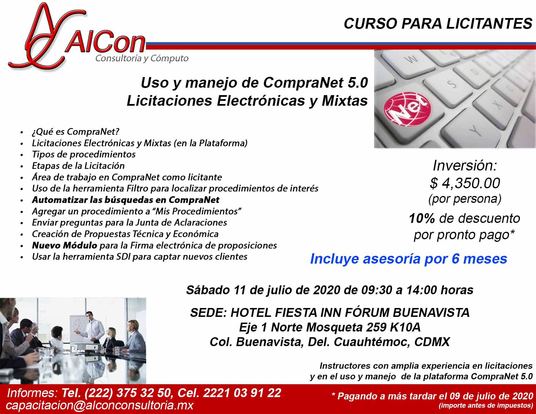 Curso de CompraNet 5.0, Ciudad de México, AlCon Consultoría y Cómputo, AlCon Consulting And Commerce