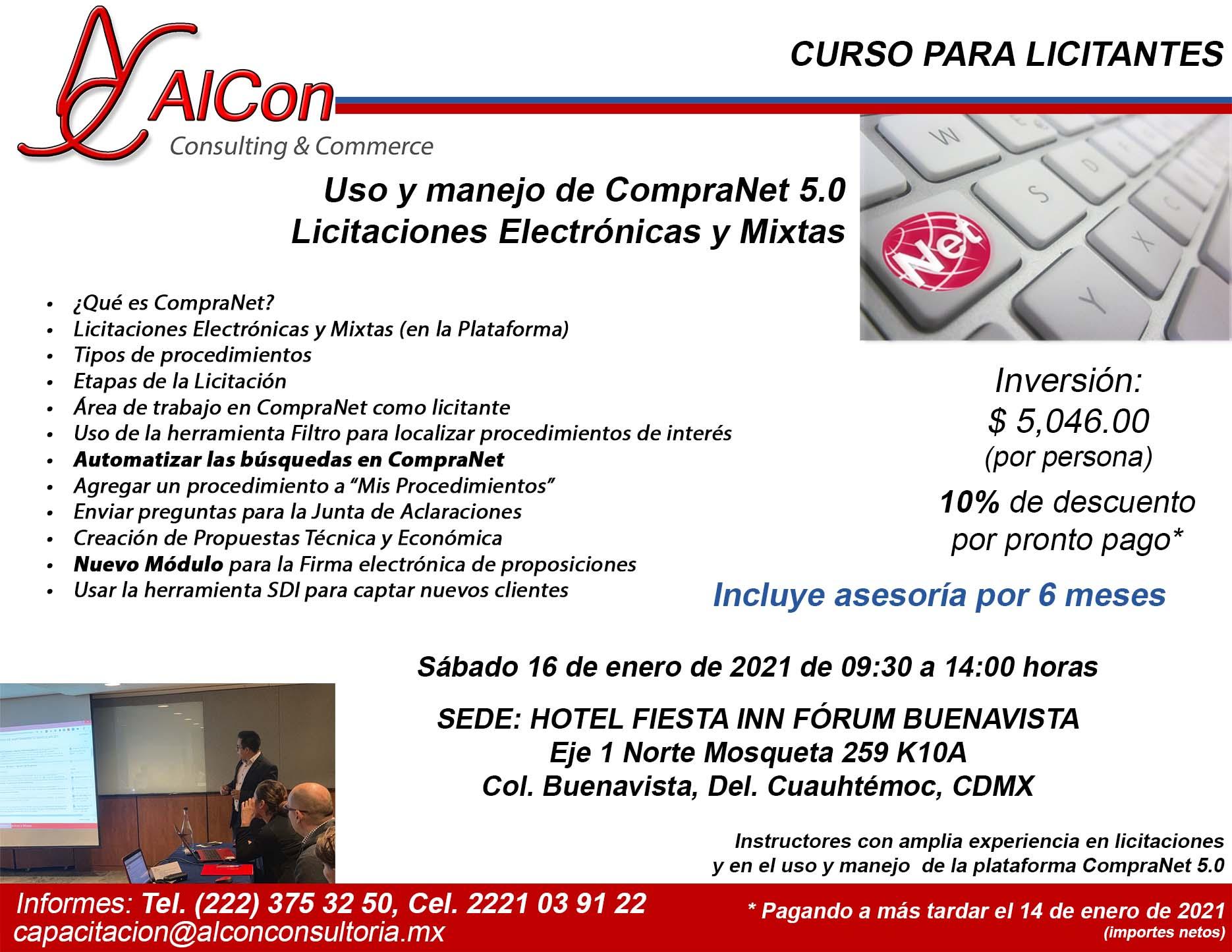 Curso de CompraNet 5.0, Ciudad de México, AlCon Consultoría y Cómputo, AlCon Consulting And Commerce, Arcadio Alonso Sánchez