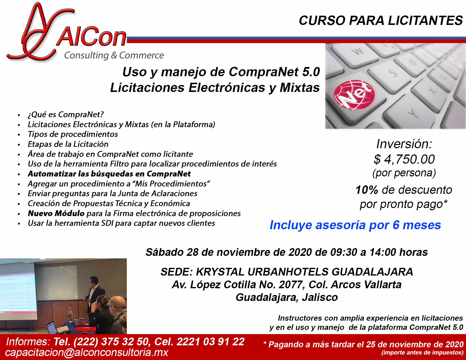 Curso de CompraNet 5.0, Guadalajara, Jalisco, AlCon Consultoría y Cómputo, AlCon Consulting And Commerce, Arcadio Alonso Sánchez