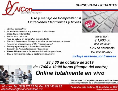 Curso online de CompraNet 5.0, AlCon Consultoría y Cómputo, AlCon Consulting And Commerce