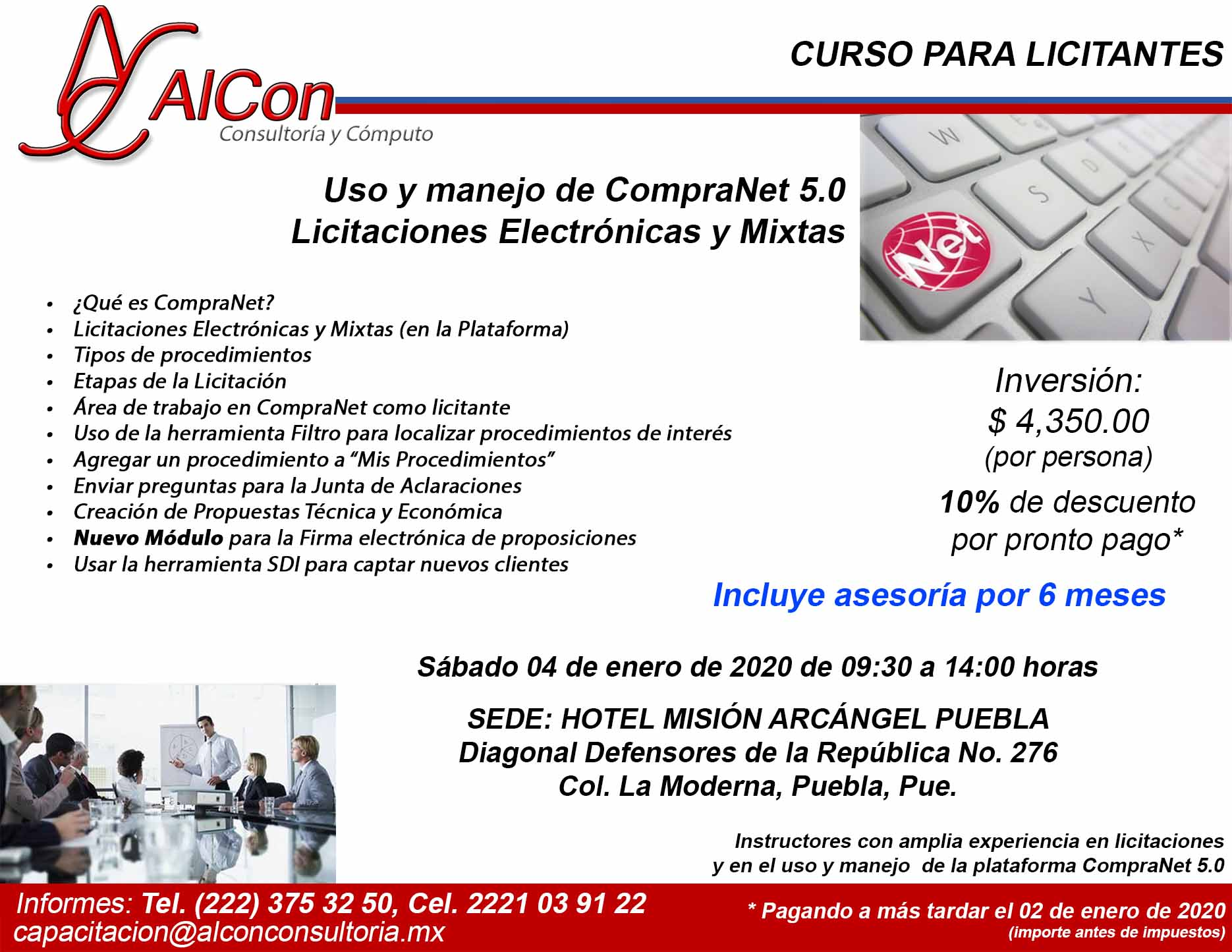 Curso de CompraNet 5.0, Puebla, AlCon Consultoría y Cómputo, AlCon Consulting And Commerce, Arcadio Alonso Sánchez