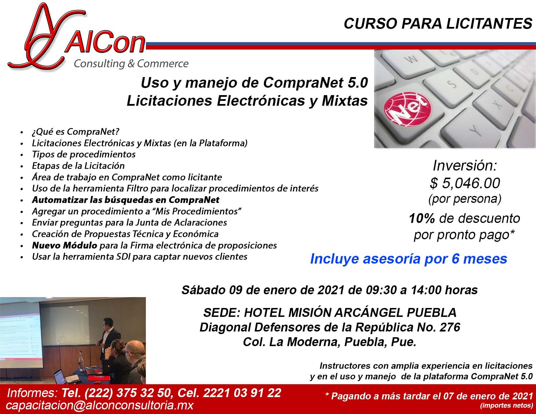 Curso de CompraNet 5.0, Puebla, AlCon Consultoría y Cómputo, AlCon Consulting And Commerce, Arcadio Alonso Sánchez