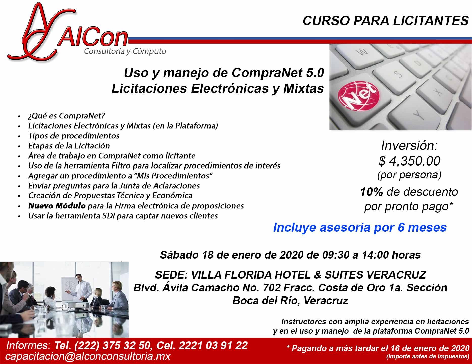 Curso de CompraNet 5.0, Veracruz, AlCon Consultoría y Cómputo, AlCon Consulting And Commerce, Arcadio Alonso Sánchez