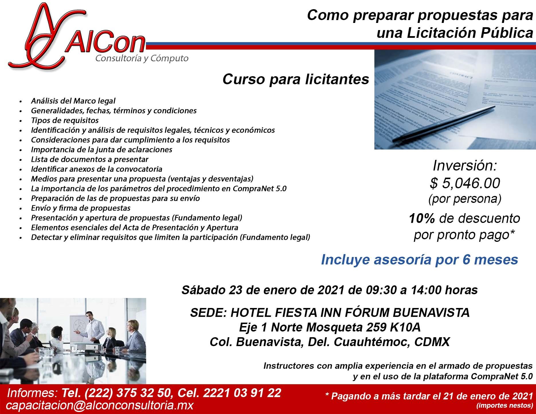 Curso Como preparar propuestas para una Licitación Pública, Ciudad de México, AlCon Consultoría y Cómputo, AlCon Consulting And Commerce, Arcadio Alonso Sánchez