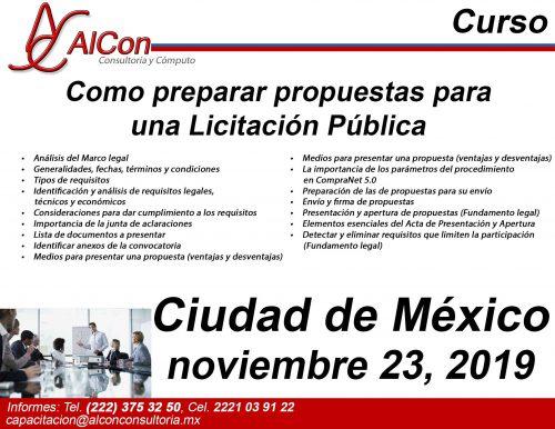 Curso Preparar Propuestas, Ciudad de México (CDMX), AlCon Consultoría y Cómputo, AlCon Consulting And Commerce