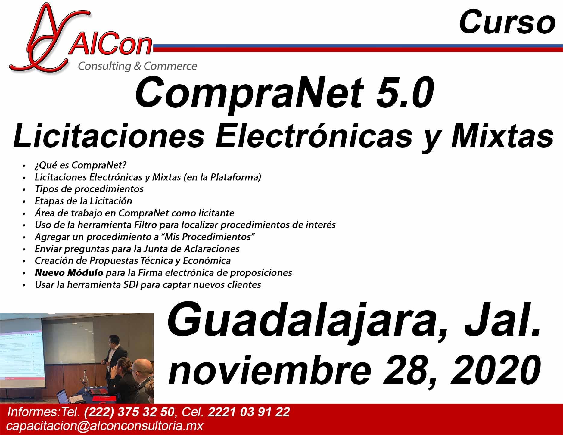 Curso de CompraNet 5.0, Guadalajara, Jalisco, AlCon Consultoría y Cómputo, AlCon Consulting And Commerce, Arcadio Alonso Sánchez