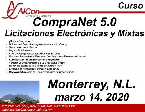 Curso de CompraNet 5.0, Monterrey, N.L., AlCon Consultoría y Cómputo, AlCon Consulting And Commerce, Arcadio Alonso Sánchez