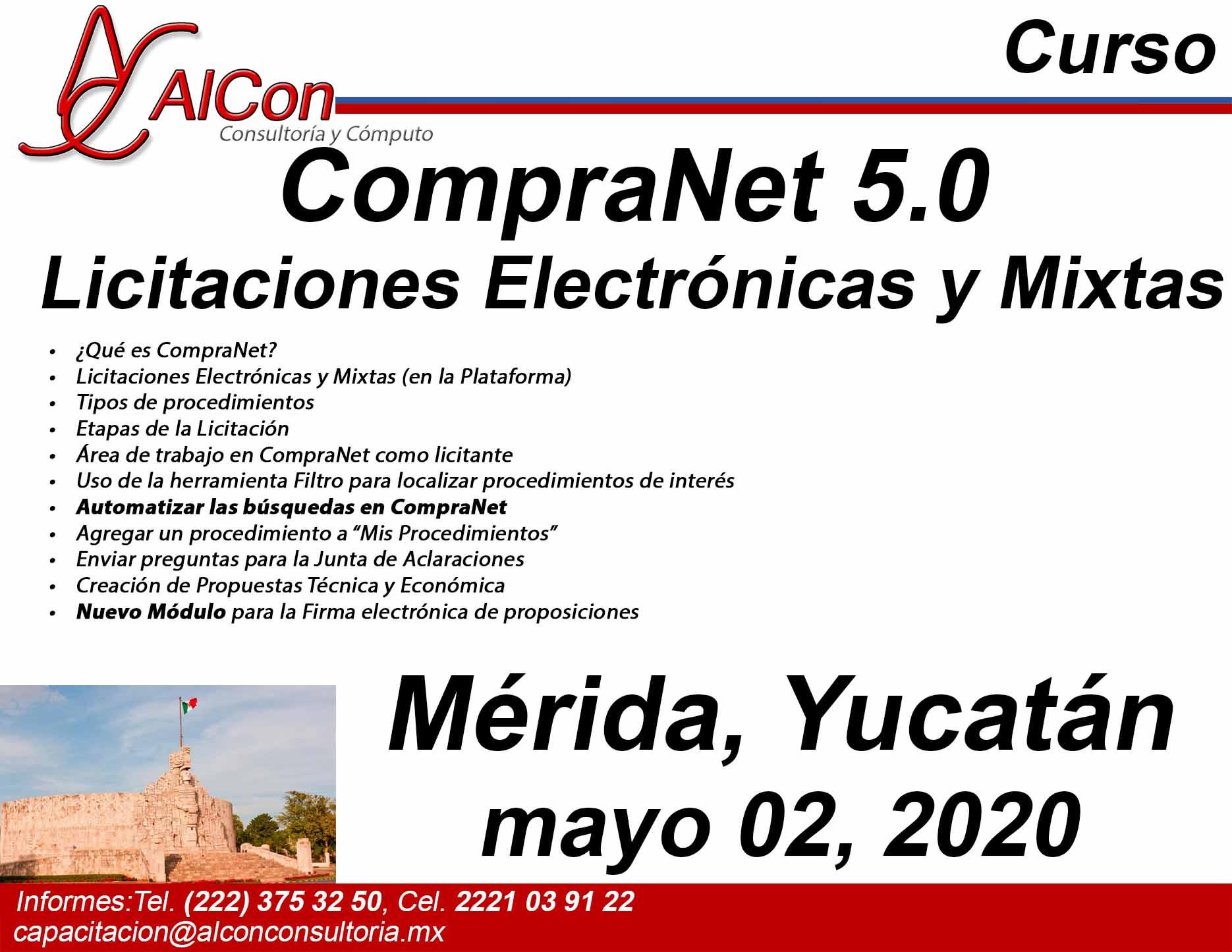 Curso de CompraNet 5.0, Mérida, Yucatán, AlCon Consultoría y Cómputo, AlCon Consulting And Commerce, Arcadio Alonso Sánchez