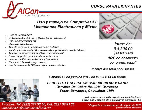 Curso de CompraNet 5.0, Chihuahua, AlCon Consultoría y Cómputo, AlCon Consulting And Commerce, AlCon C&C