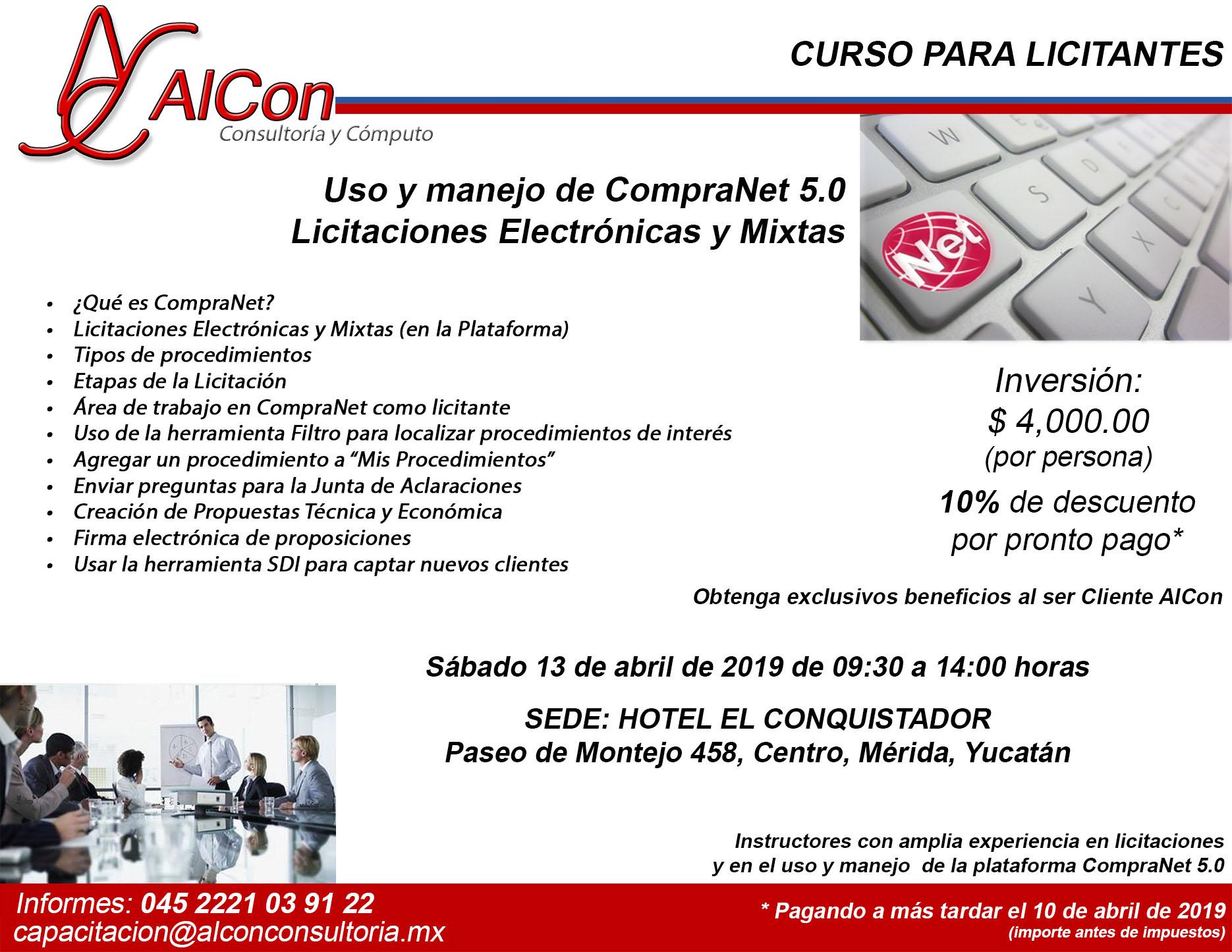 Curso CompraNet 5.0 Mérida, Yucatán AlCon Consultoría y Cómputo Arcadio Alonso Sánchez