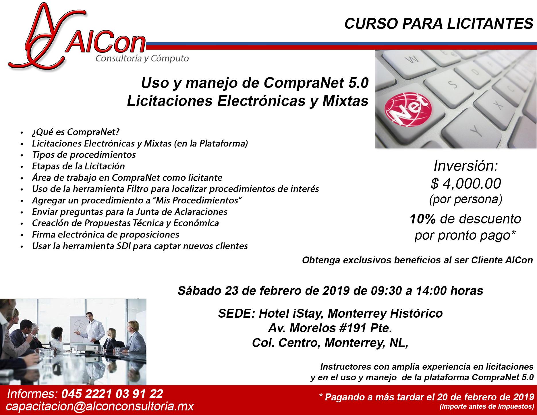 Curso CompraNet Monterrey, Nuevo León Arcadio Alonso Sánchez AlCon Consultoría y Cómputo