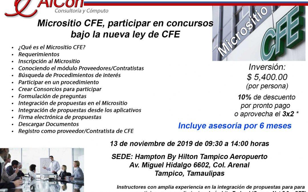 Curso Micrsositio CFE, participar en concursos bajo la nueva ley de CFE, Tampico, Tamaulipas