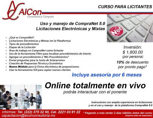 Curso online de CompraNet 5.0, AlCon Consultoría y Cómputo, AlCon Consulting And Commerce, Arcadio Alonso Sánchez