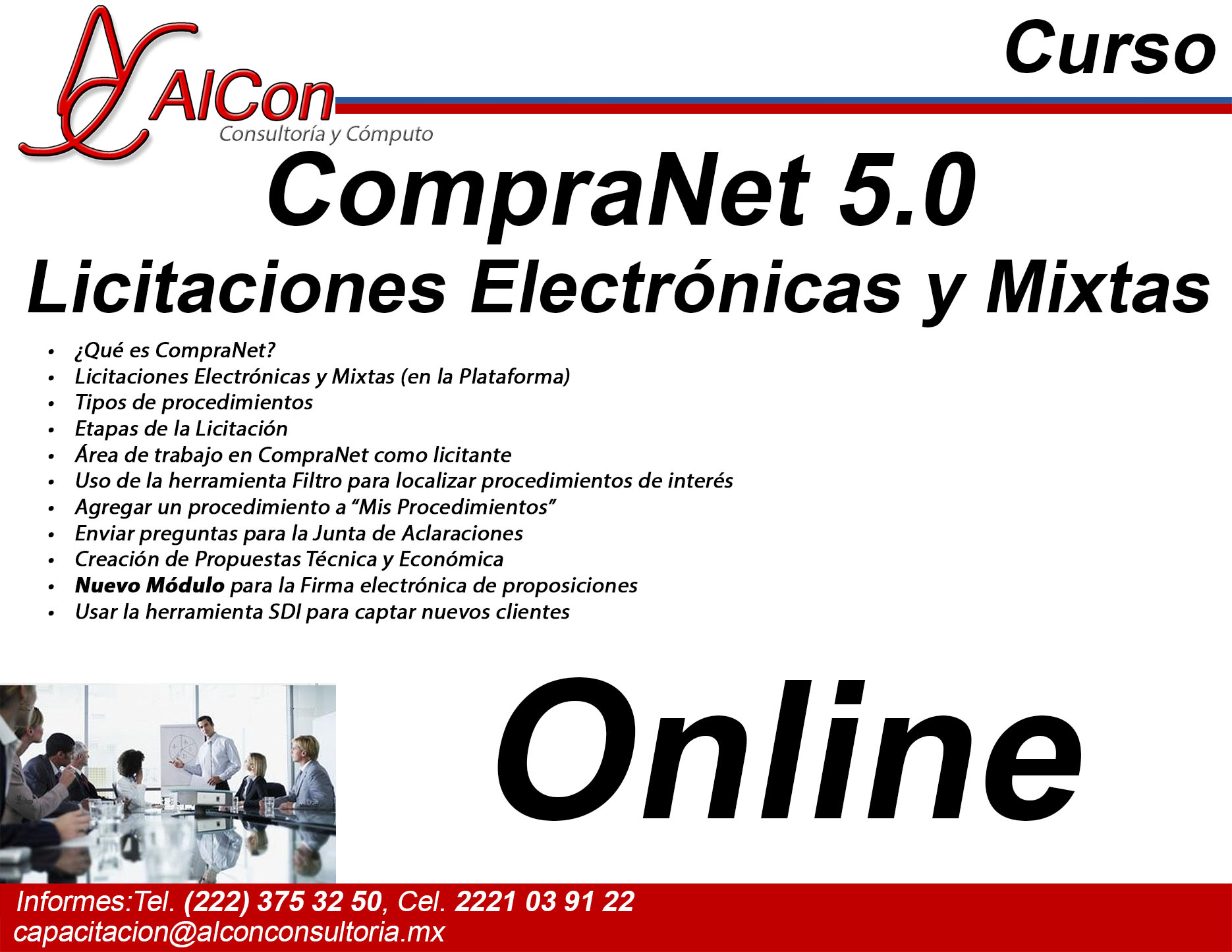 Curso online de CompraNet 5.0, AlCon Consultoría y Cómputo, AlCon Consulting And Commerce, Arcadio Alonso Sánchez