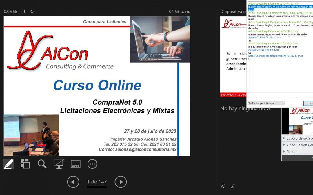 Curso online de CompraNet 5.0 27 y 28 de julio de 2020