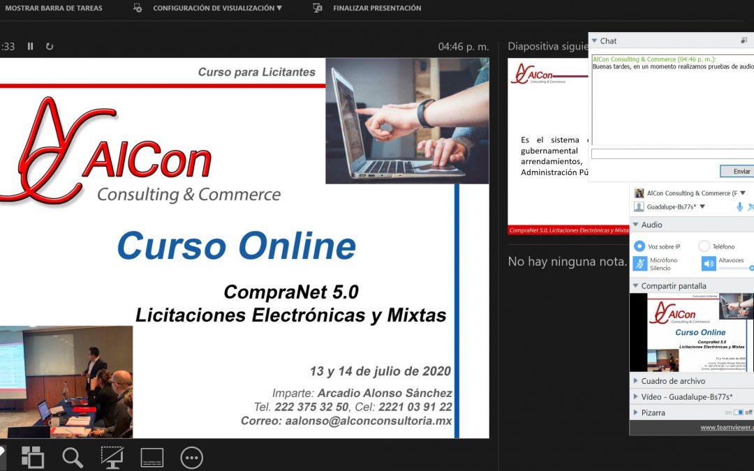 Curso online de CompraNet 5.0 13 y 14 de julio de 2020