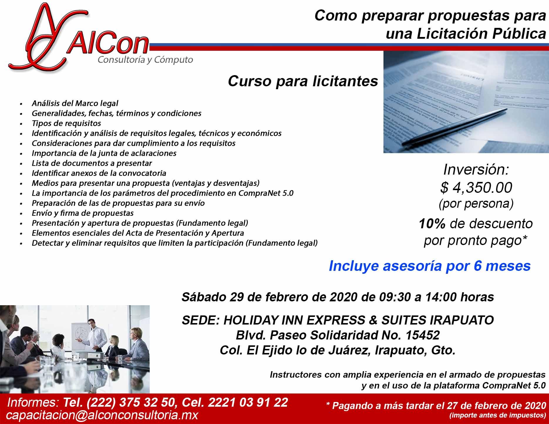 Curso Como Preparar Propuestas, Irapuato, Gto., AlCon Consultoría y Cómputo, AlCon Consulting And Commerce, Arcadio Alonso Sánchez