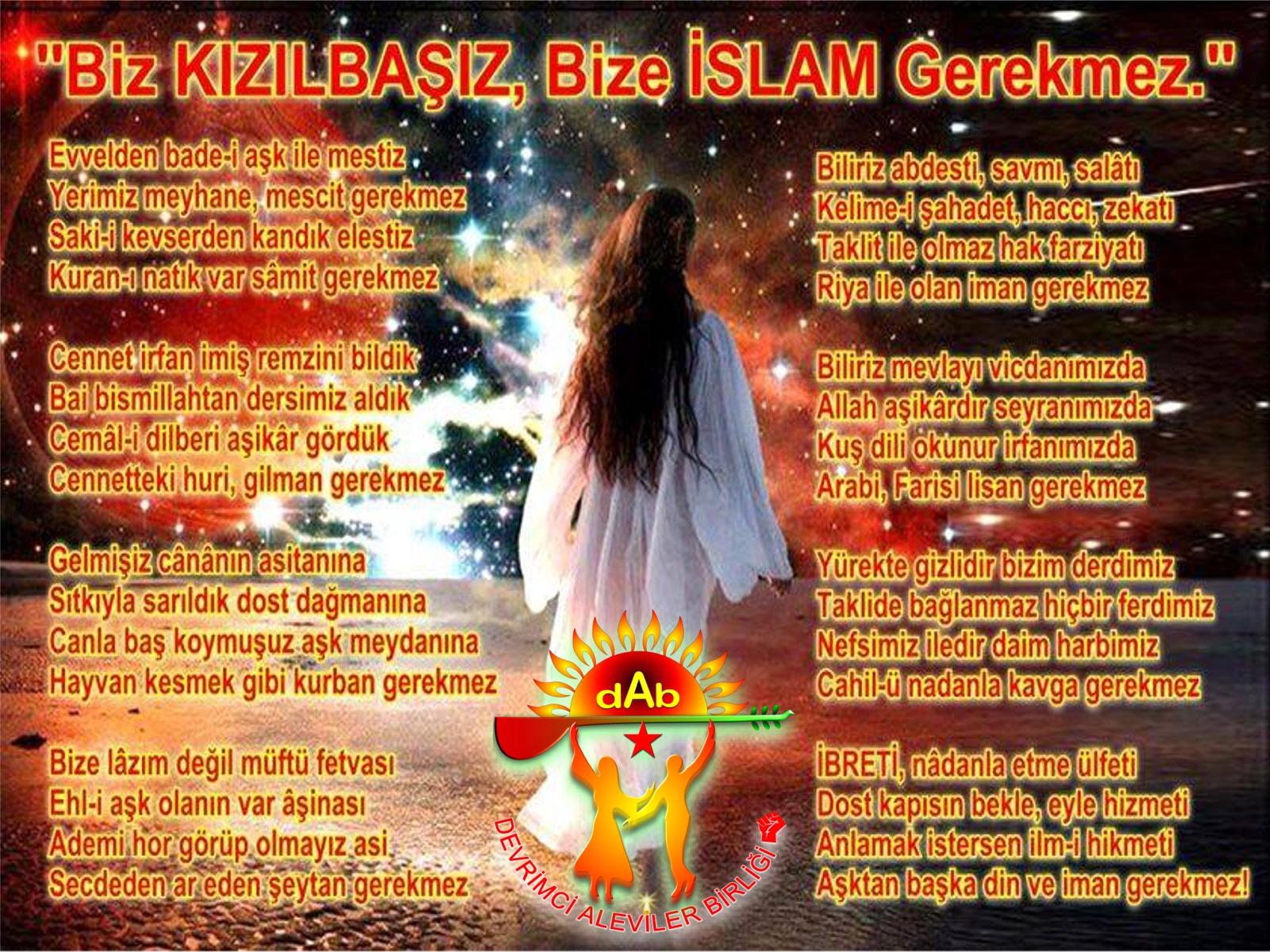 Alevi Bektaşi Kızılbaş Pir Sultan İslam dışı Atatürk faşist Devrimci Aleviler Birliği DAB islam gerekmez