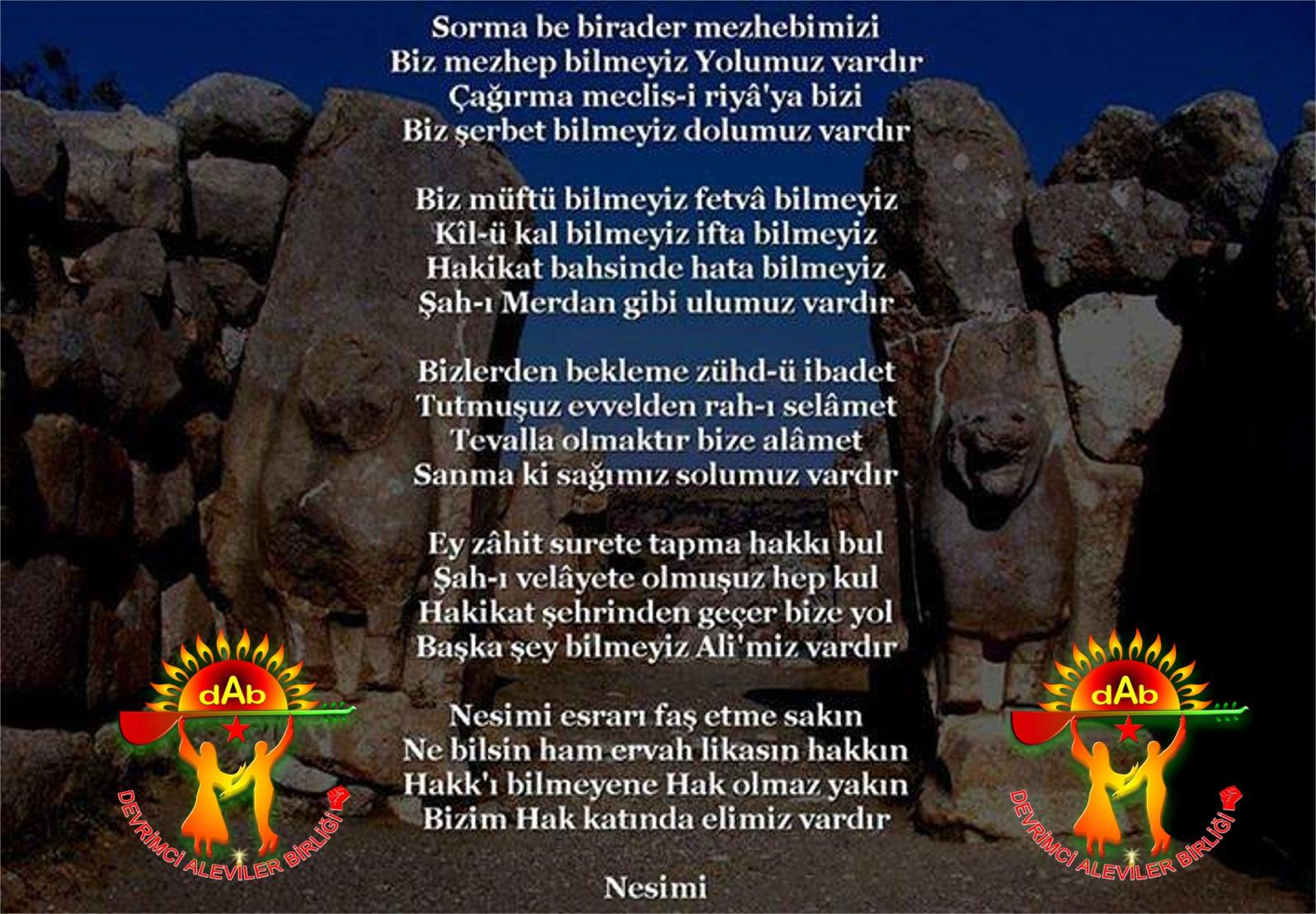 Alevi Bektaşi Kızılbaş Pir Sultan İslam dışı Atatürk faşist Devrimci Aleviler Birliği DAB nesimi vardır