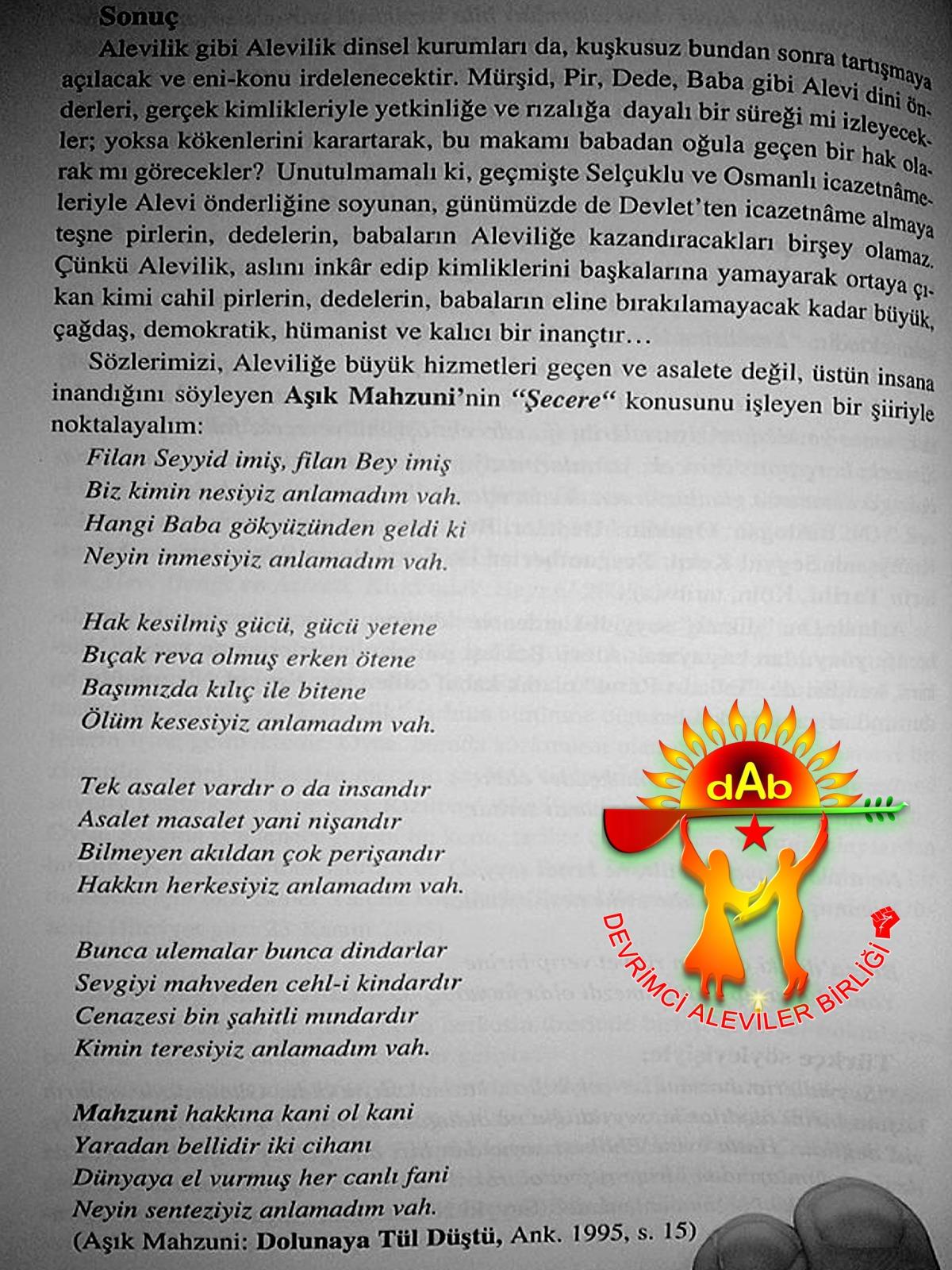 Alevi Bektaşi Kızılbaş Pir Sultan İslam dışı Atatürk faşist ehlibeyt 12 imam Devrimci Aleviler Birliği DAB vah