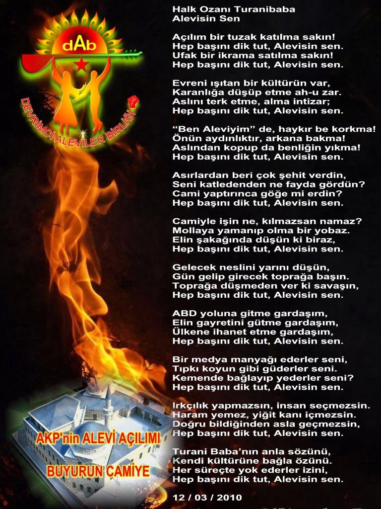 Alevi Bektaşi Kızılbaş Pir Sultan Devrimci Aleviler Birliği DAB Alevisin Sen