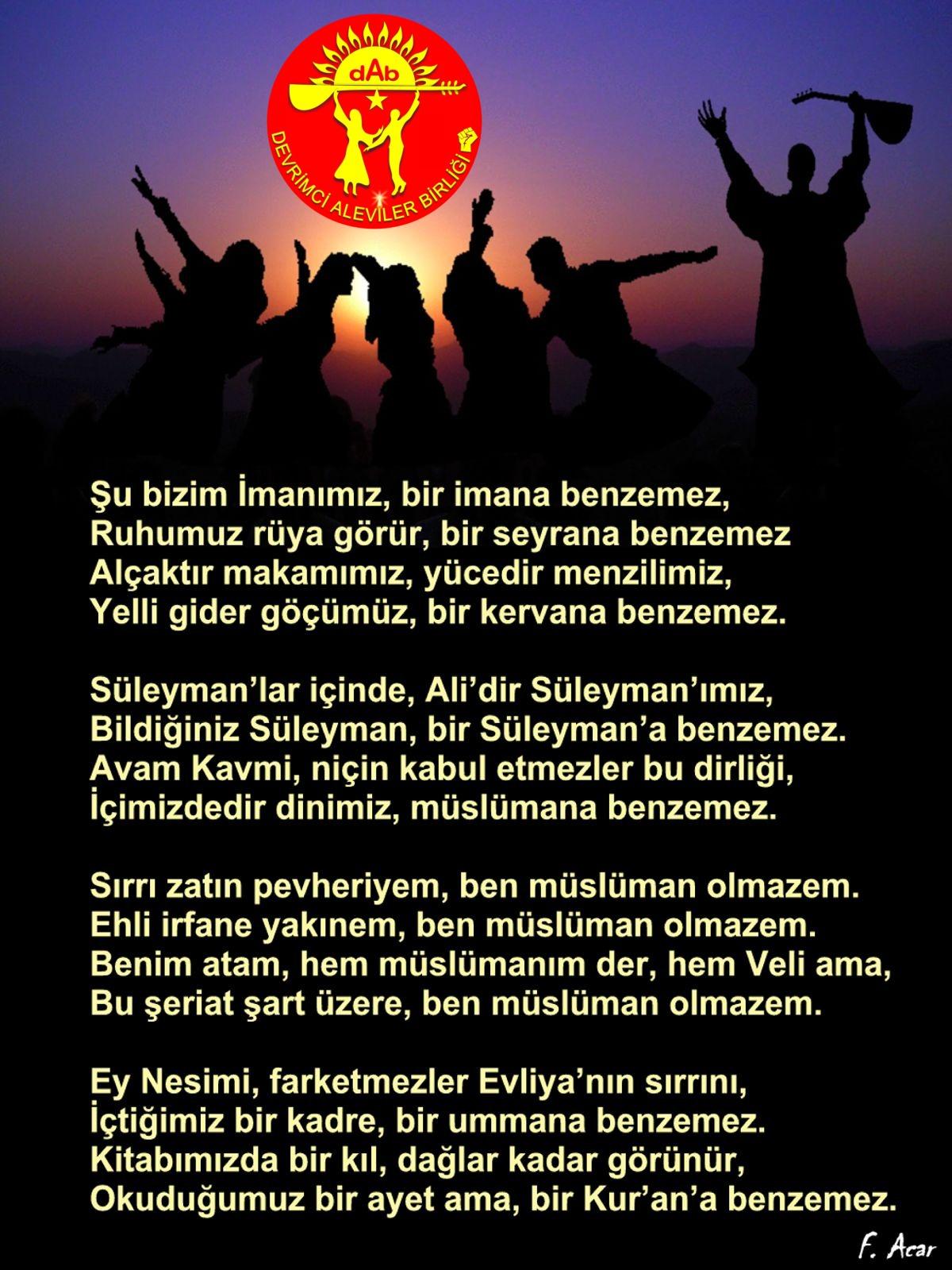 Alevi Bektaşi Kızılbaş Pir Sultan Devrimci Aleviler Birliği DAB benzemez
