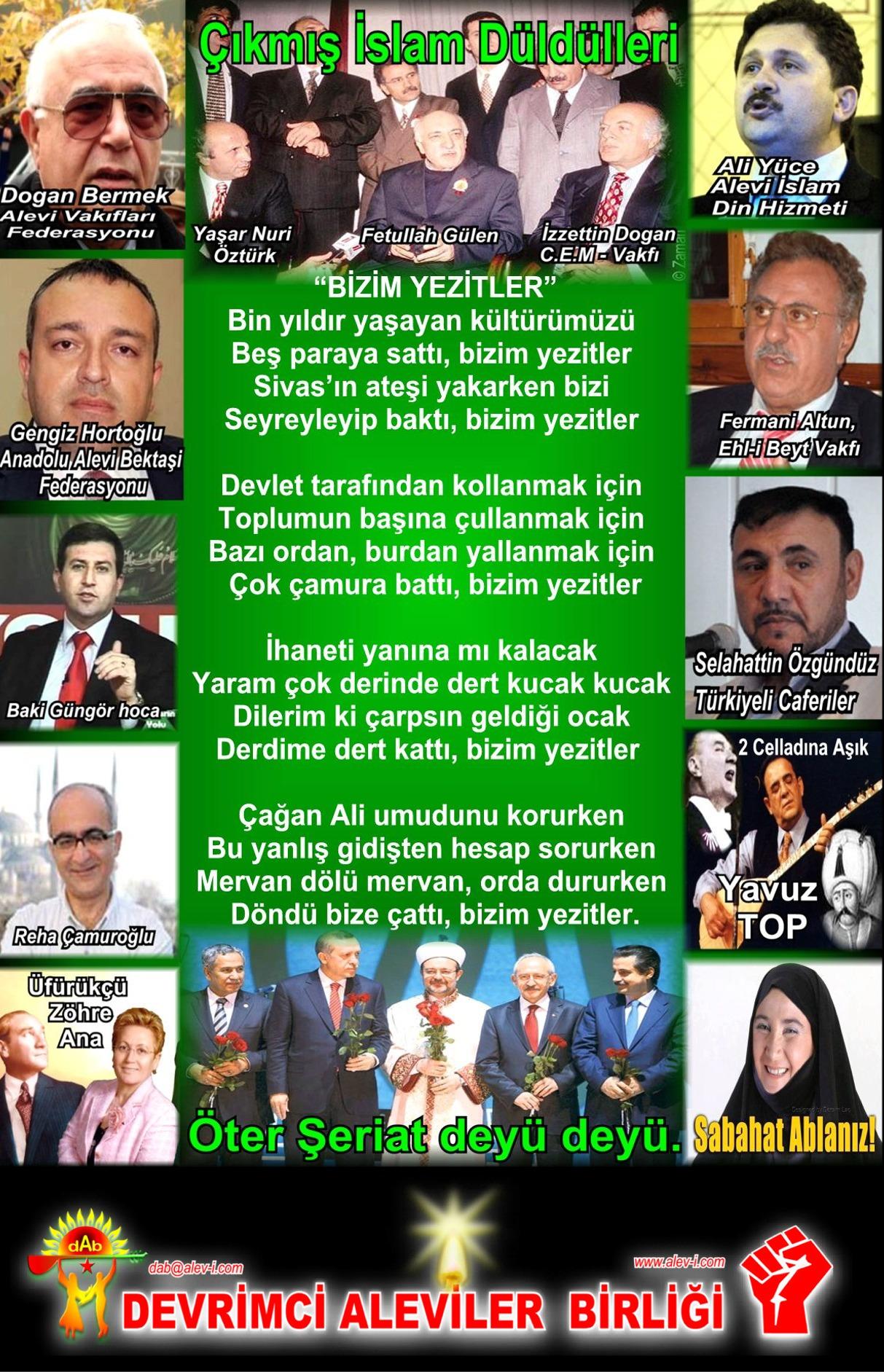 Alevi Bektaşi Kızılbaş Pir Sultan Devrimci Aleviler Birliği DAB bizimYezitlerIslamdüldülleri