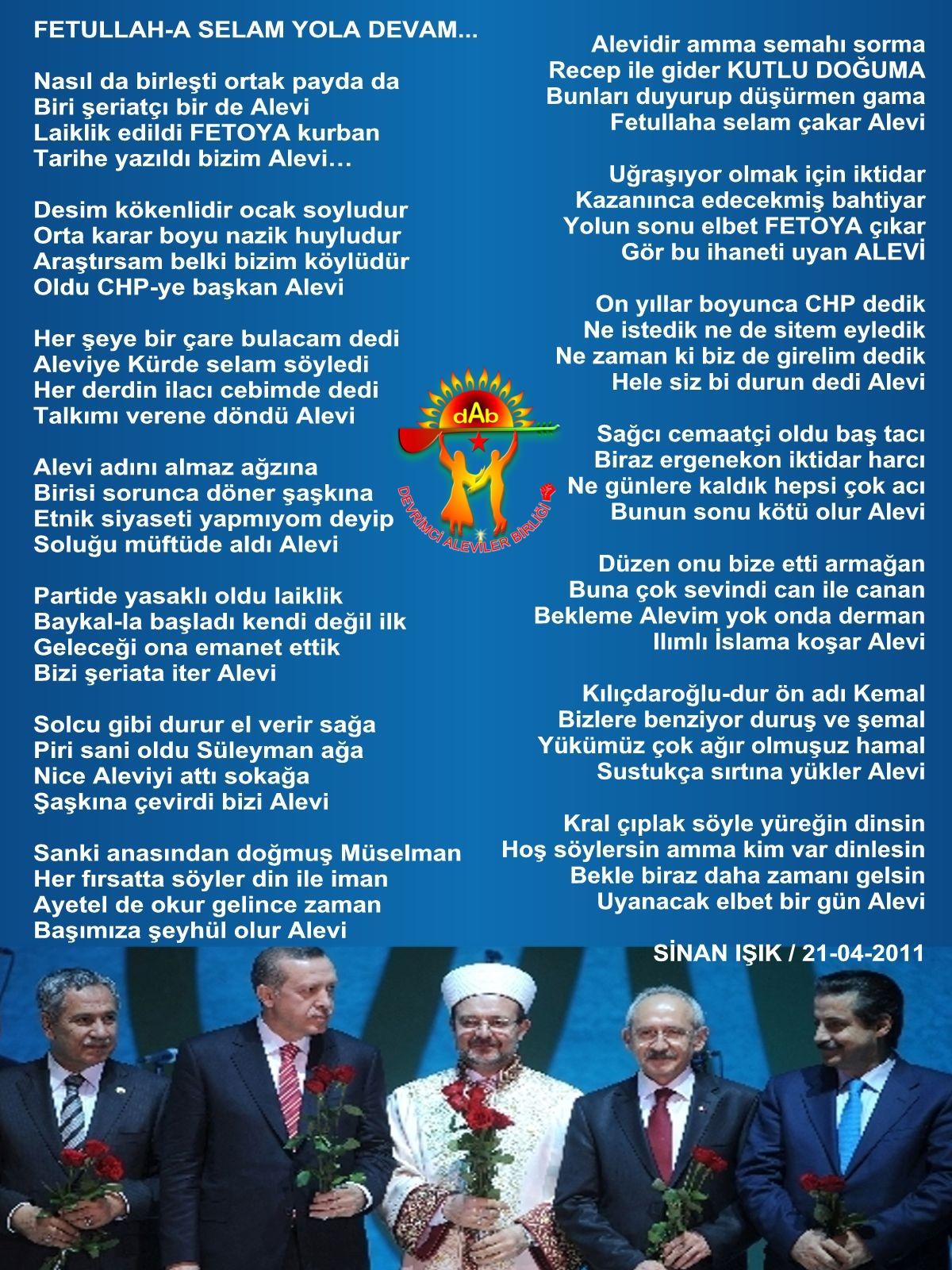 Alevi Bektaşi Kızılbaş Pir Sultan Devrimci Aleviler Birliği DAB erdogan_kilicdaroglu_kutludogum siir