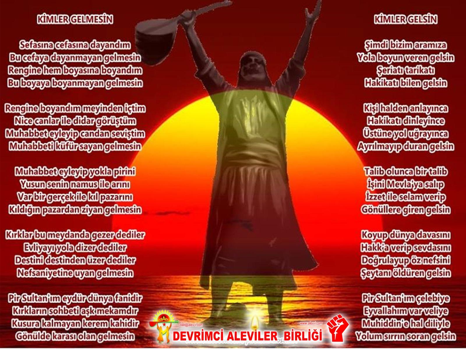 Alevi Bektaşi Kızılbaş Pir Sultan Devrimci Aleviler Birliği DAB gelsin gelmesin pirsultan