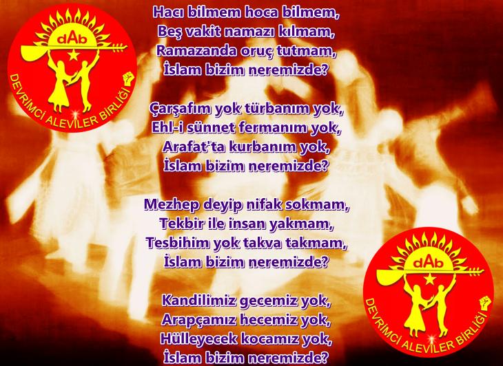 Alevi Bektaşi Kızılbaş Pir Sultan Devrimci Aleviler Birliği DAB islam neremizde