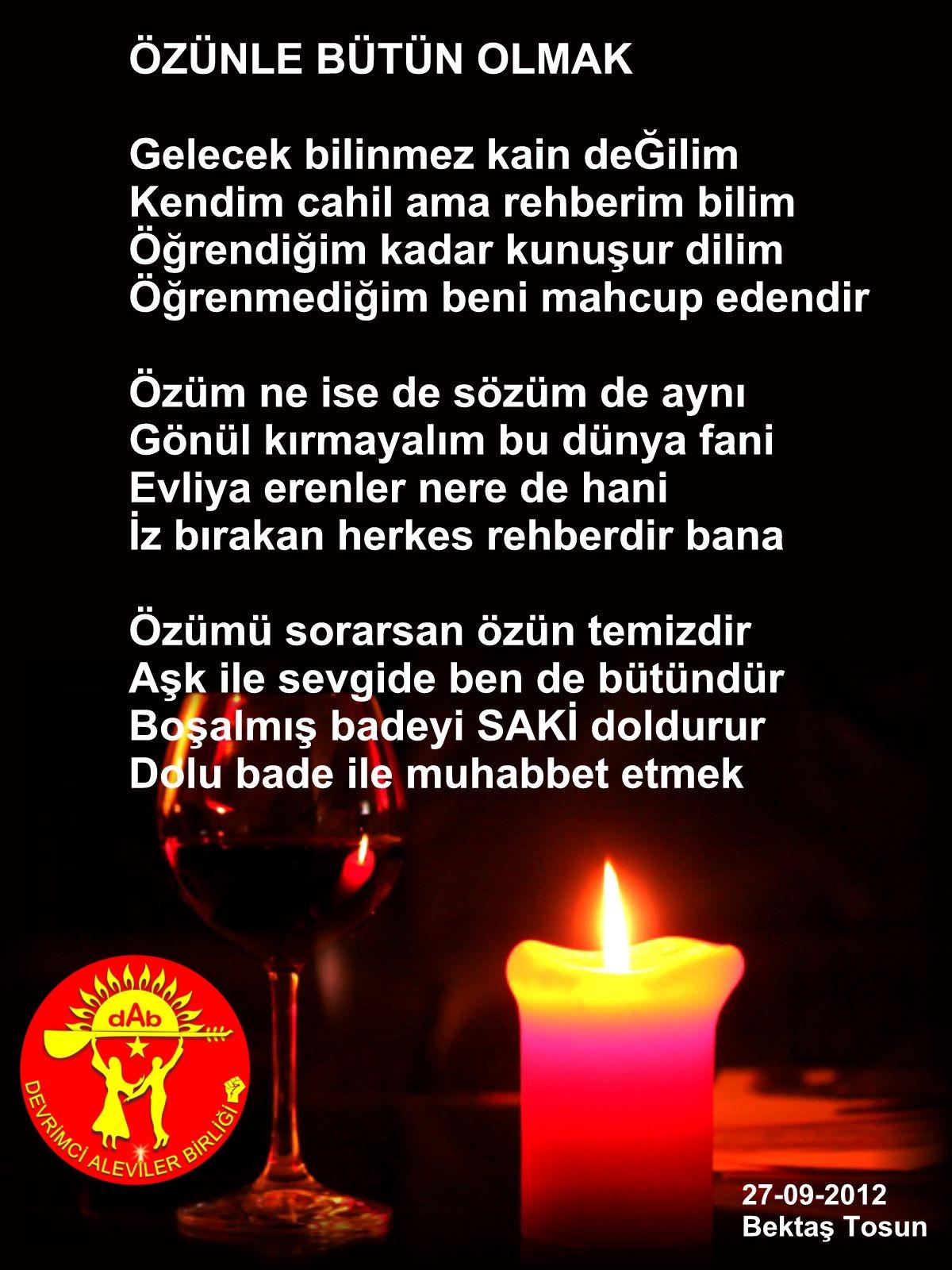 Alevi Bektaşi Kızılbaş Pir Sultan Devrimci Aleviler Birliği DAB sarap bektas tosun