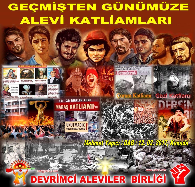 alevi katliamlari tarini devrimci aleviler birligi DAB Kizilbas bektaşi cem Pir Sultan cemevi mehmet yapici