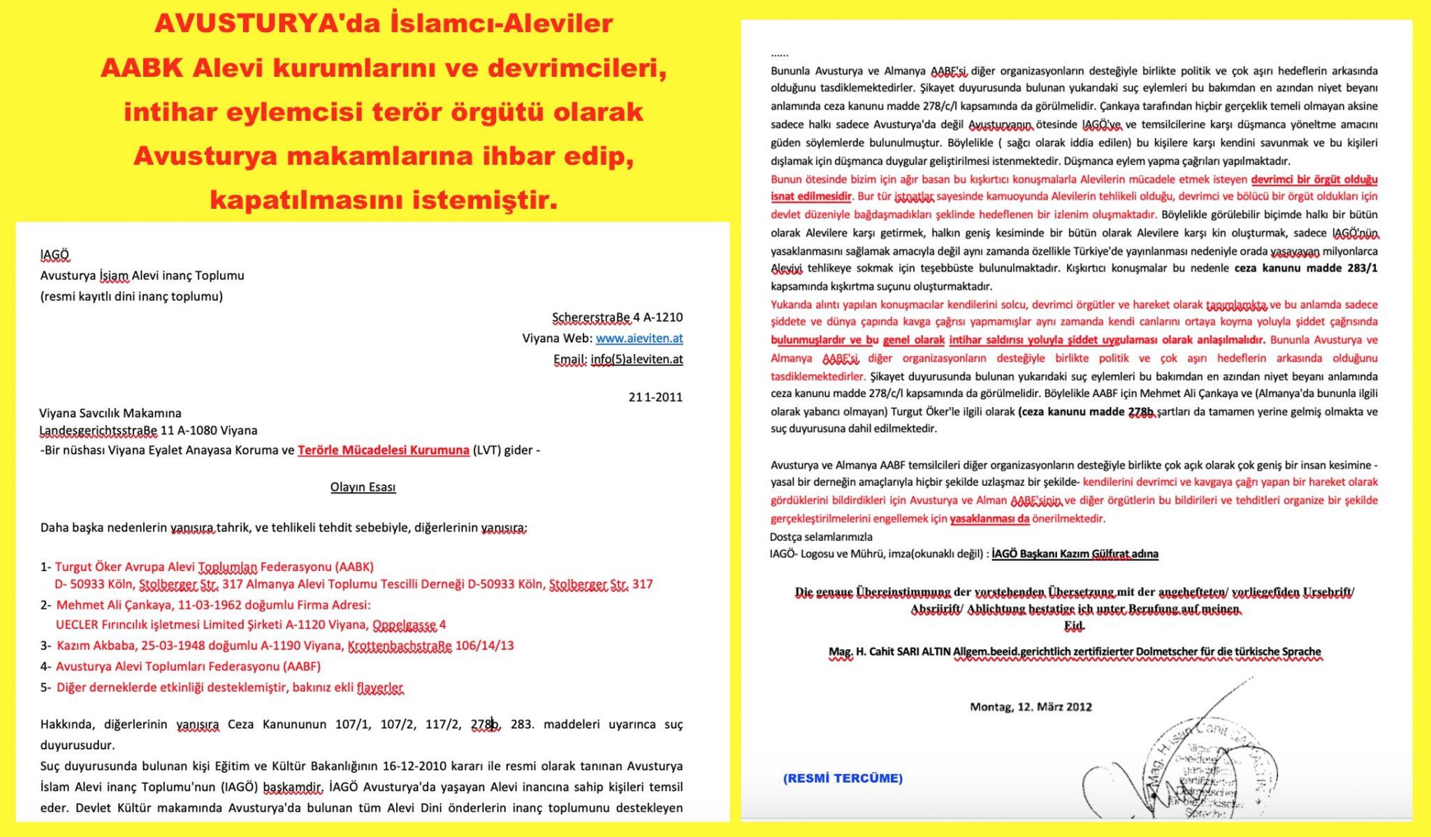 1 Avusturya Alevi islamcı Aleviler  DAB devrimci Aleviler Birliği  ihbar türkçe terör