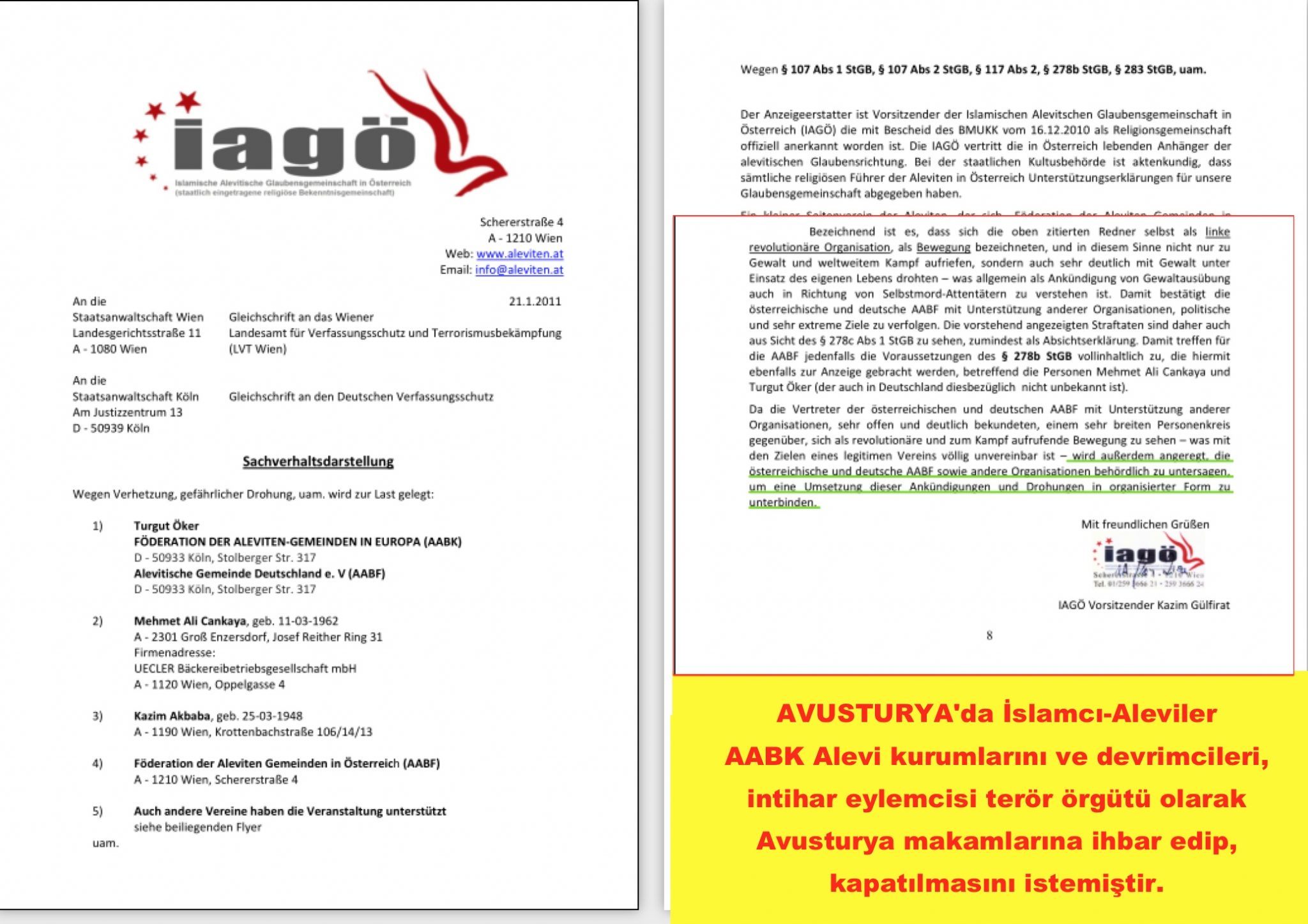 2 Avusturya Alevi islamcı Aleviler  DAB devrimci Aleviler Birliği ihbar almanca terör