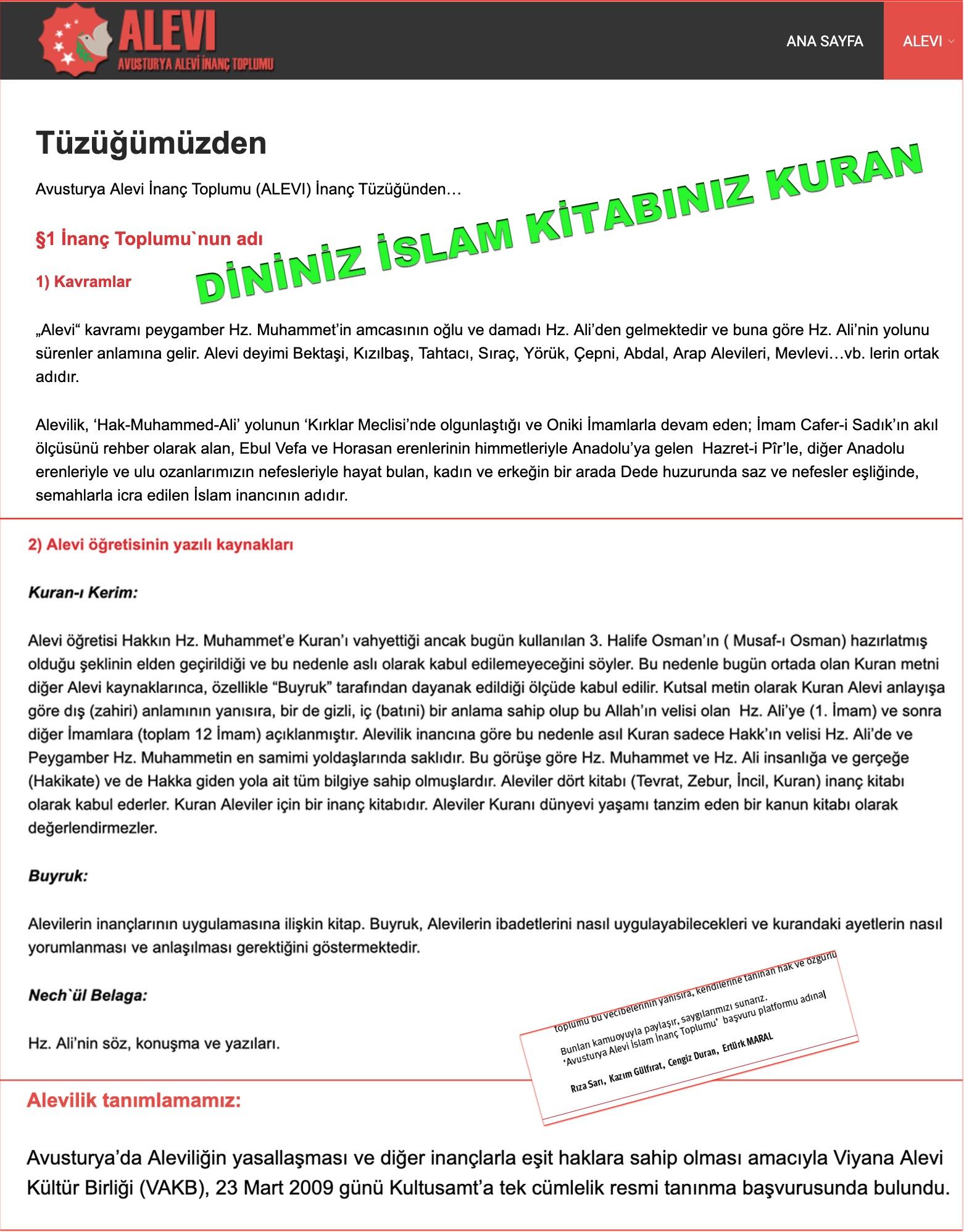 8 Avusturya Alevi islamcı Aleviler  DAB devrimci Aleviler Birliği  Dininiz islam kitabınız kuan