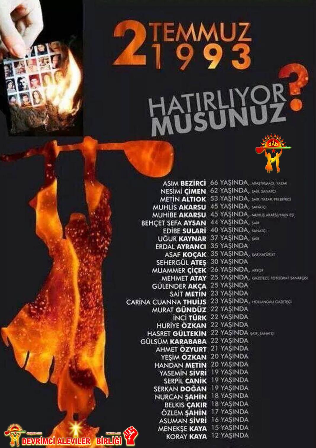 Alevi sivas madımak 2 temmuz 1993 DAB Devrimci Alevi Kızılbas pir sultan