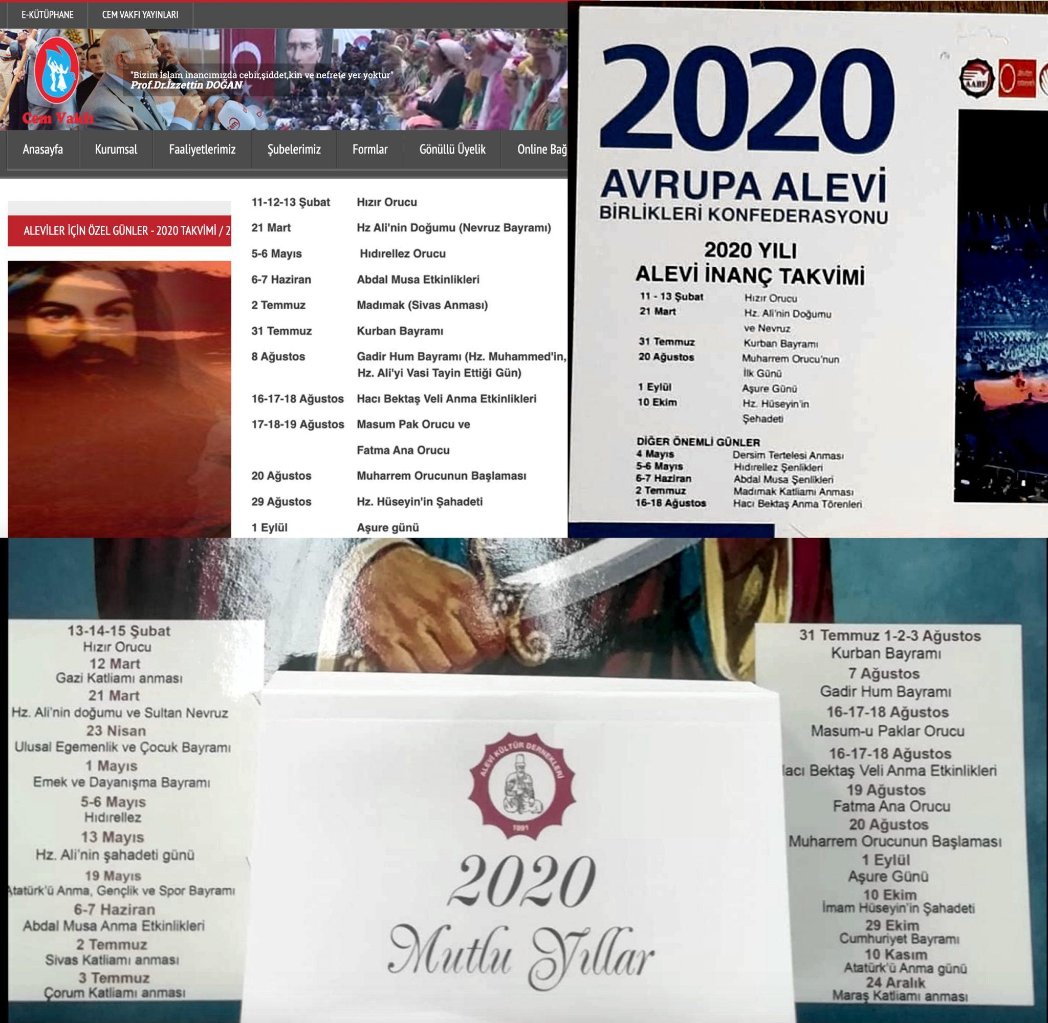 0 Takvim DAB Alevi Bektasi kızılbas Cem semah eski takvim Alevi kurumlarında Takvim asimilasyonu