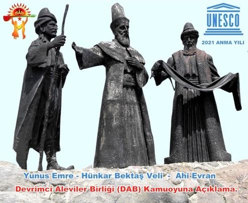 UNESCO Hünkar Bektaş Veli Yunus Emre Ahi Evran Anma yılı 2021 DAB Alevi