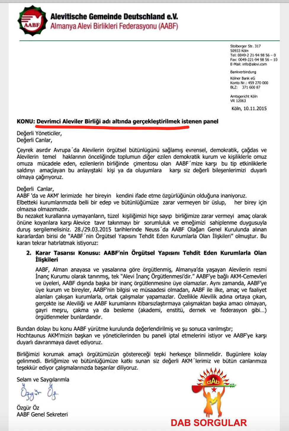 B1A DAB Almanya AABF panel yasağı