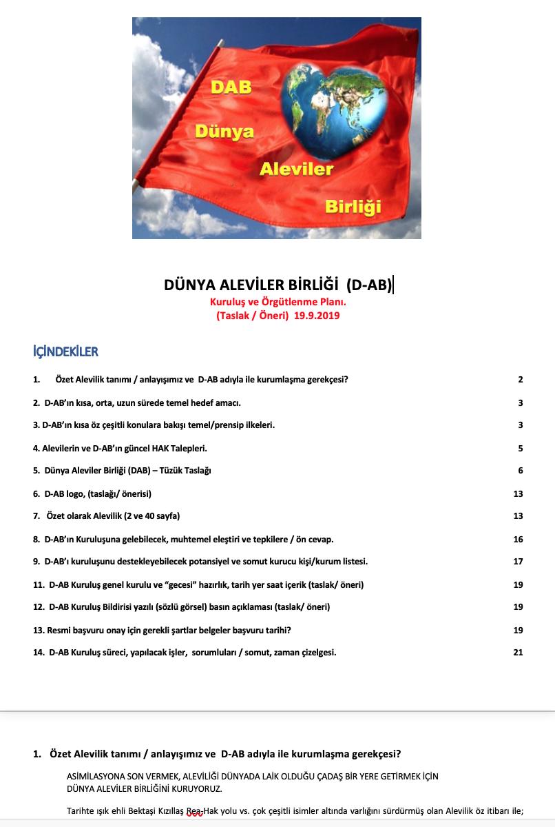 B29 Dünya Aleviler birliği taslak öneri